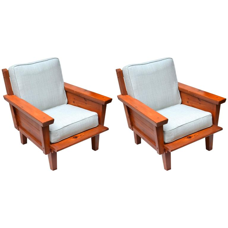 Rustic 1940s Habitant Knotty Pine Club Chairs At 1stdibs