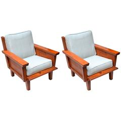 Rustic 1940s Habitant Knotty Pine Club Chairs