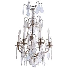 French Nickel over Bronze Six-Light Arms Chandelier