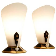 Pair of Small Table Lamps in Black Gold and White