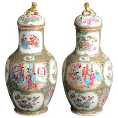 19th Century Pair of Canton Porcelain Vases and Covers