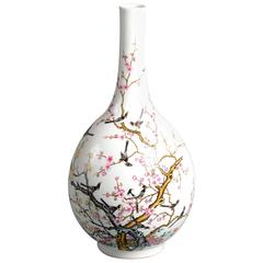 19th Century Qing Famille Rose Bottle Vase with flowering prunus tree and birds