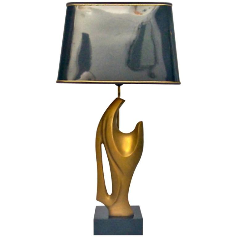 Table Lamp With Abstract Sculpture In The Style Of Chervet
