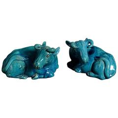 19th Century Pair of Turquoise Glazed Buffalo