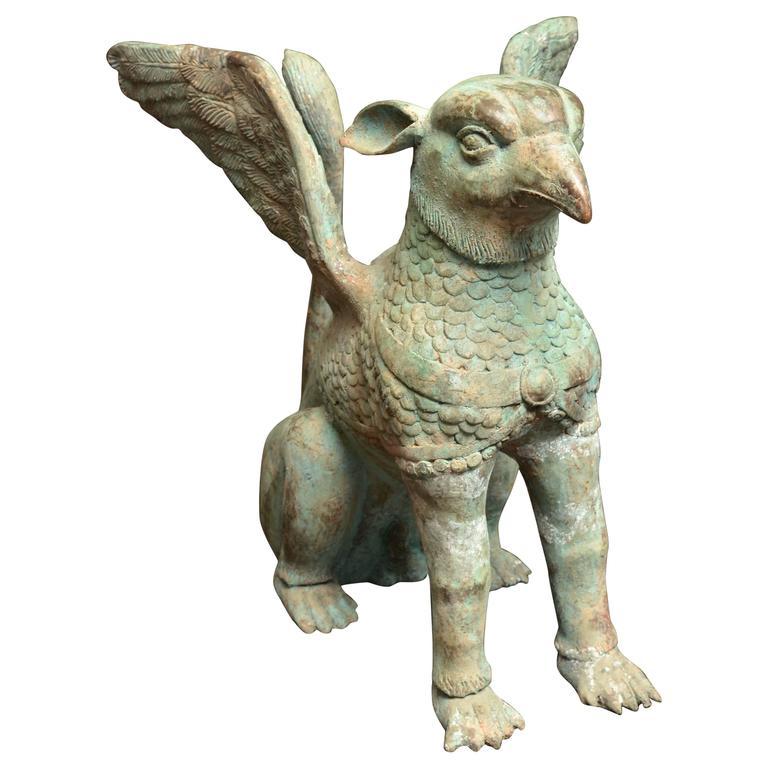 Mid Century Thai Bronze Garden Statue For Sale