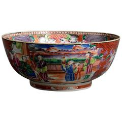 Late 18th Century Famille Rose Porcelain Punch Bowl
