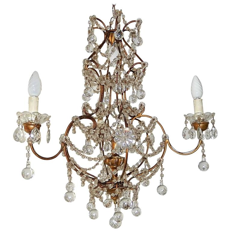 Murano Prism Chandelier: French Murano Drops Crystal Prisms Chandelier For Sale At