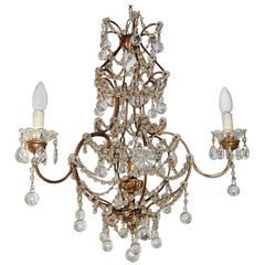French Murano Drops Crystal Prisms Chandelier