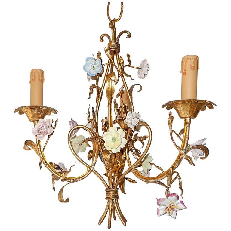 French Tole Pastel Porcelain Flowers Chandelier