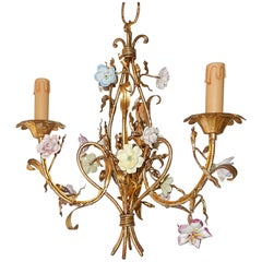 French Tole Pastel Porcelain Flowers Chandelier