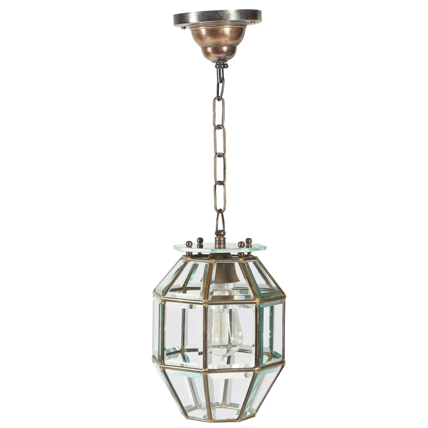 Leaded And Beveled Glass Pendant Light Attributed To Adolf