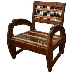 Turn of the Century Thai Colonial Cild's Open Armchair with Unusual Bamboo Weave