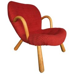 "Original Red Fabric Arctander Armchair Model ""Clam,"" Vik & Blindheim, Norway"