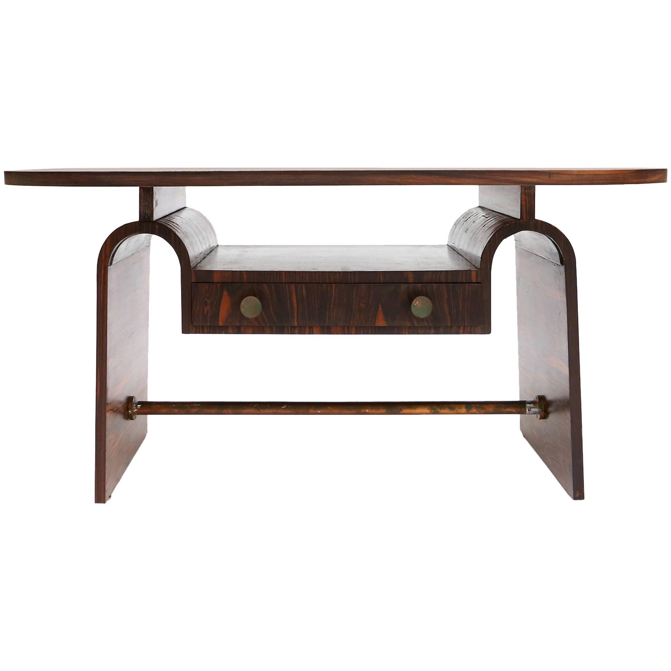 Modernist macassar Art Deco coffee table for Metz & Co