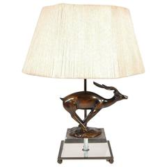 Mid-Century Modern Lucite and Bronze Gazelle Deer Lamp