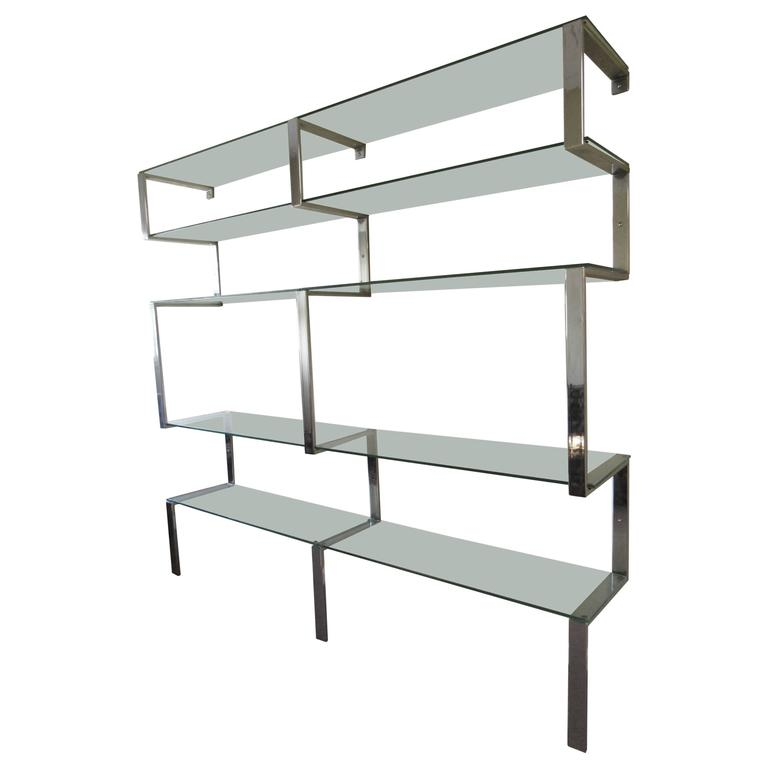 MId-century Modern Chrome Bookshelf Wall Unit after Milo Baughman