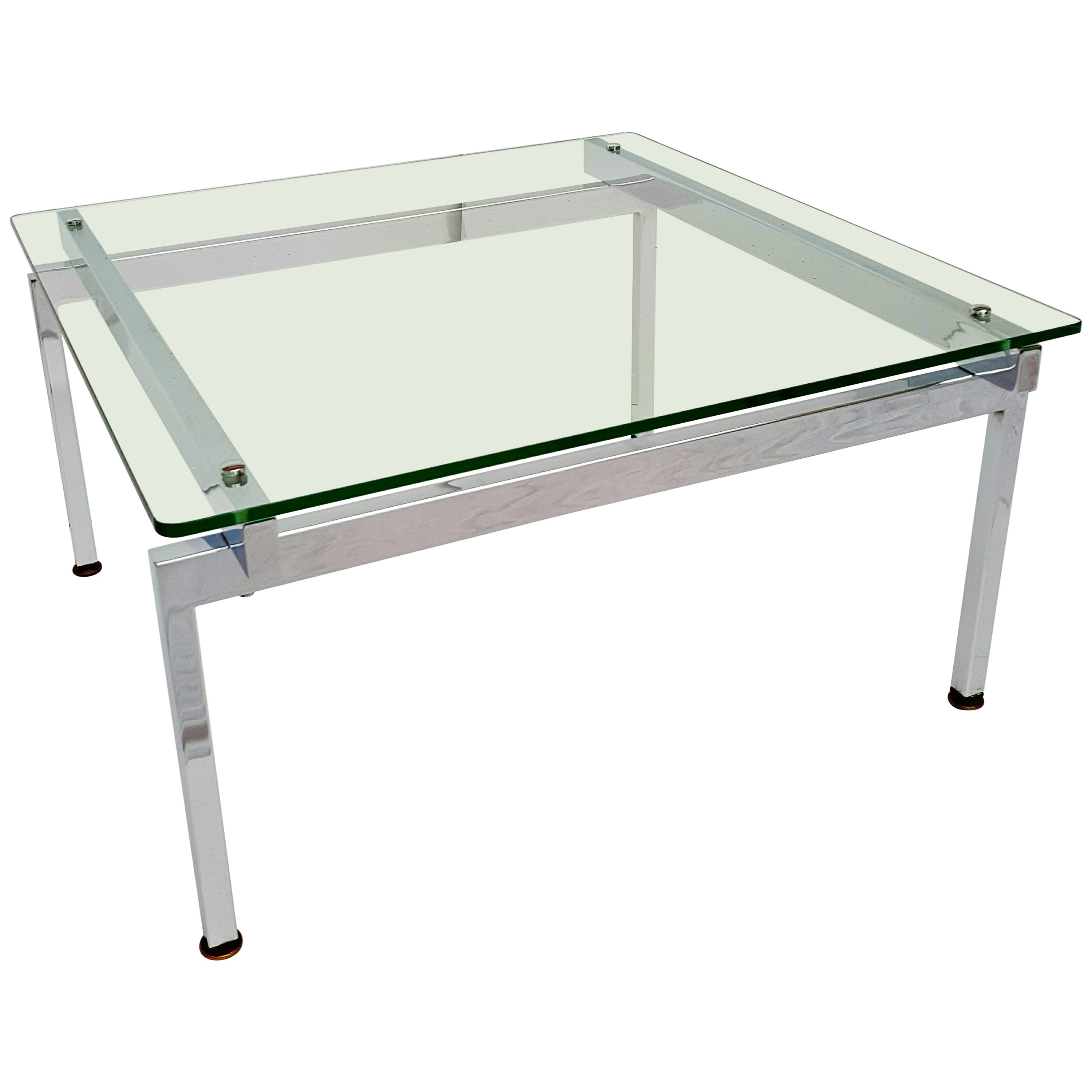 French Vintage Chrome and Glass Coffee Table, 1970s