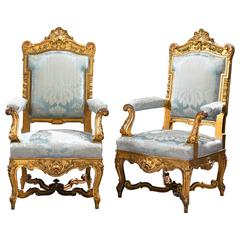 Louis XV Style French Giltwood Chairs