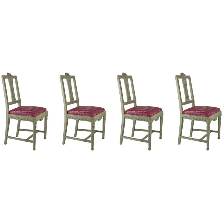 Set of Four Swedish Gustavian Period Dining Chairs