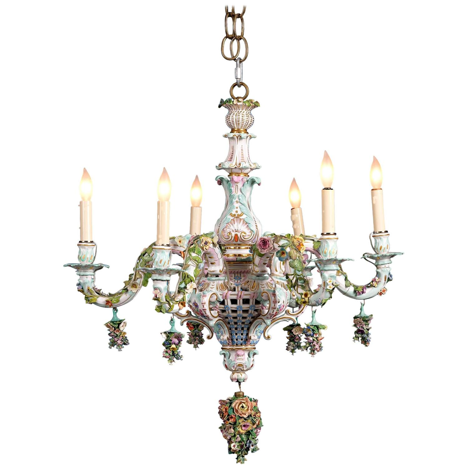Meissen Porcelain Six Light Rococo Style Chandelier For Sale at