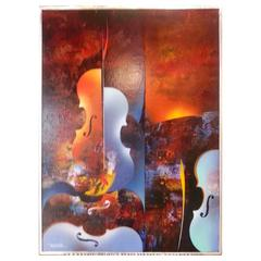 "20th Century ""Symphonyc Dream"" Oil on Panel by Leonardo Nierman"