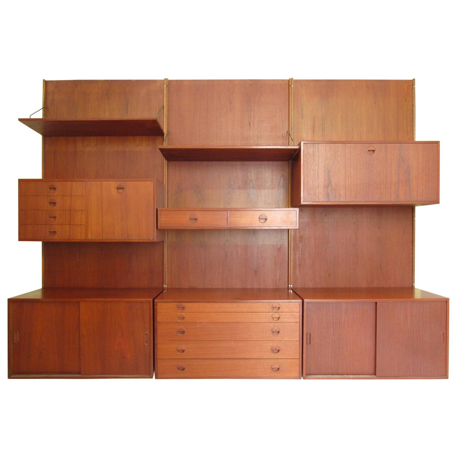 Large Mid-Century Modern Danish Teak Wall Unit, Poul Cado Style For ...