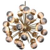 Exceptional Huge Sputnik Murano Glass and Brass Chandelier