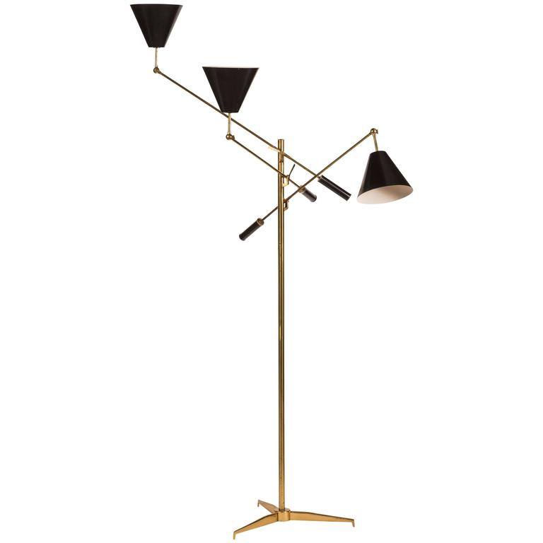 Rare Brass Triennale Floor Lamp By Angelo Lelli For