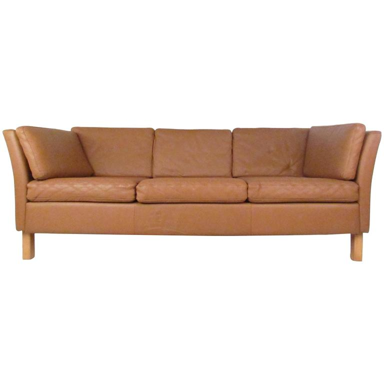 Danish Modern Leather Sofa For Sale at 1stdibs