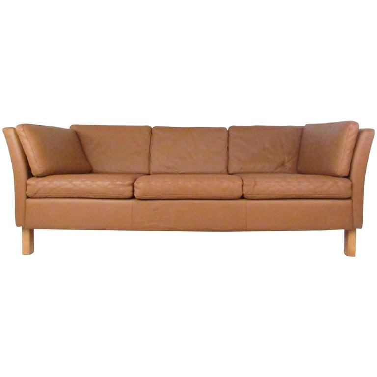 Vintage Danish Modern Leather Sofa For Sale