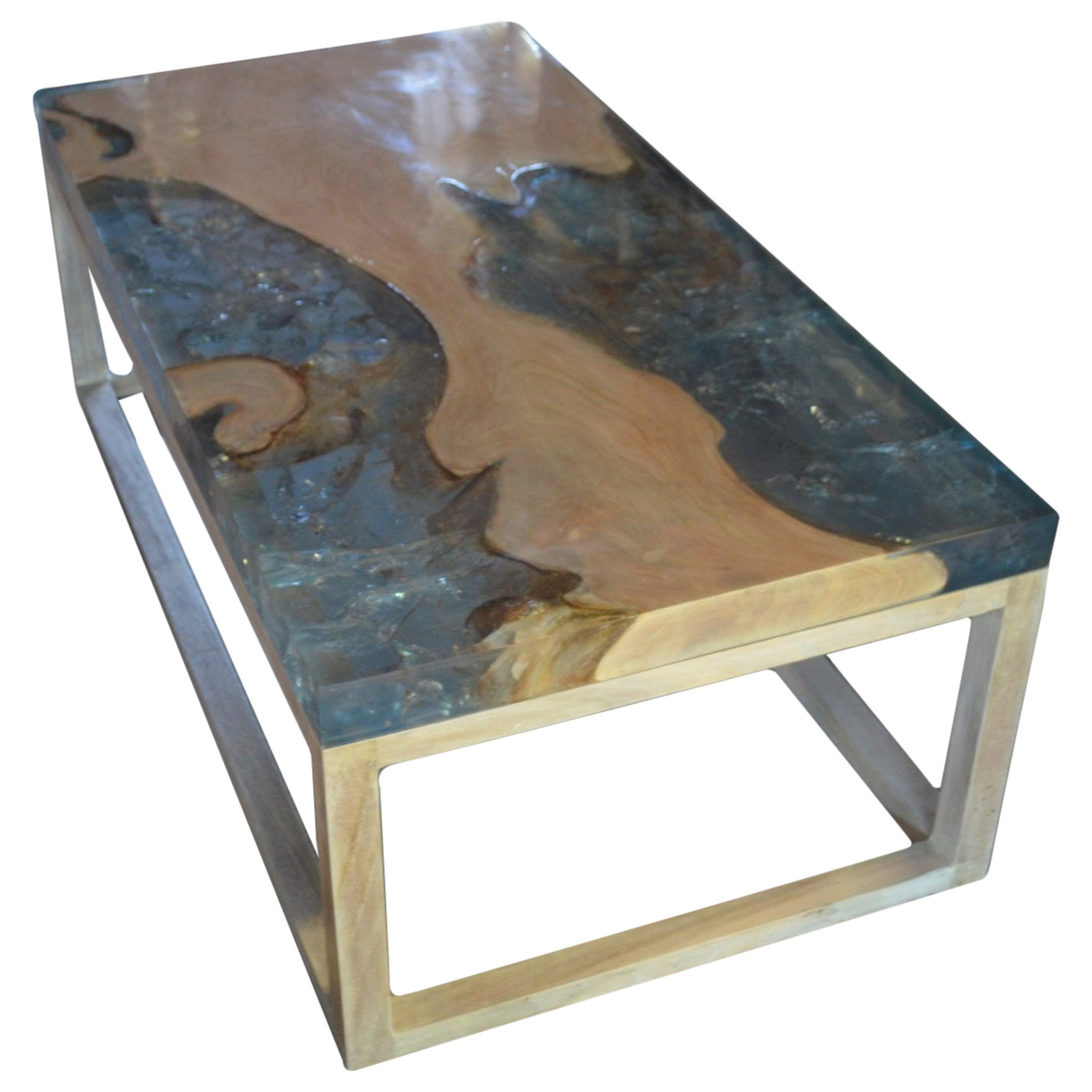 Andrianna Shamaris St. Barts Teak Wood Coffee Table with Resin