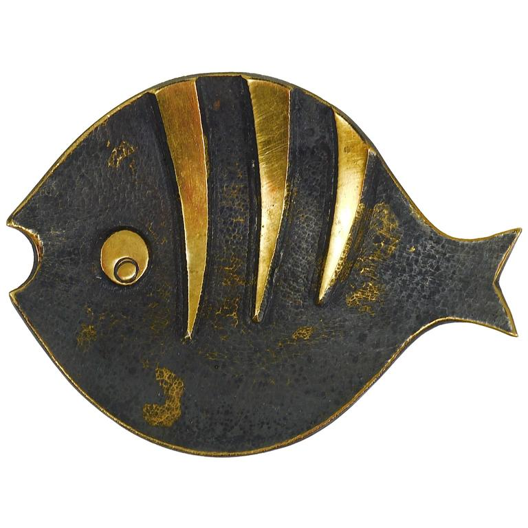 Walter Bosse Fish Mid-Century Brass Ashtray, by Hertha Baller, Austria, 1950s