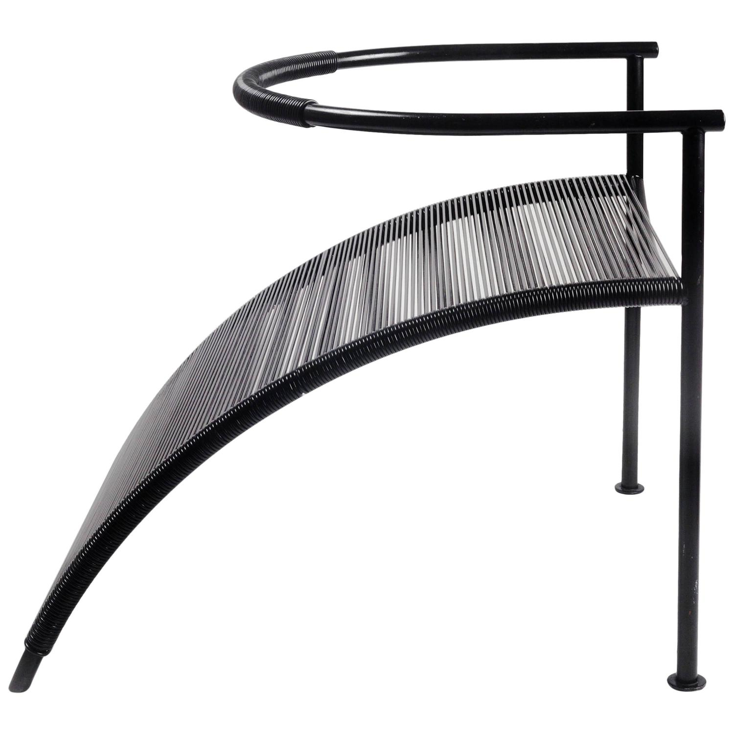 sculptural chair by philippe starck for xo paris black metal and strings 1980s for sale at 1stdibs. Black Bedroom Furniture Sets. Home Design Ideas