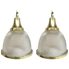 Pair Holophane Industrial Pendant Lamps. Large Holophane Glass And Brass  Pendants Made In The United Kingdom