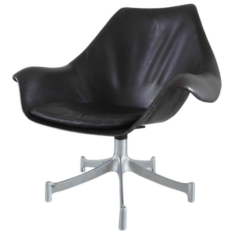 Jørgen Lund and Ole Larsen Leather and Aluminium Swivel Chair for Bo-Ex, Denmark