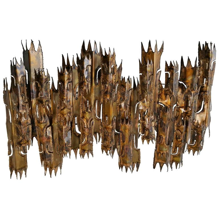 Brutalist Torch Cut Wall Sculpture Candelabrum by Tom Greene, Feldman