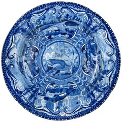 John Hall & Sons Staffordshire Quadruped Blue Transfer Plate, the River Otter