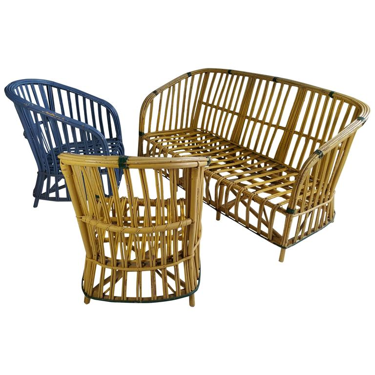 Art Deco Stick Wicker Split Reed Sofa And Chair Set For