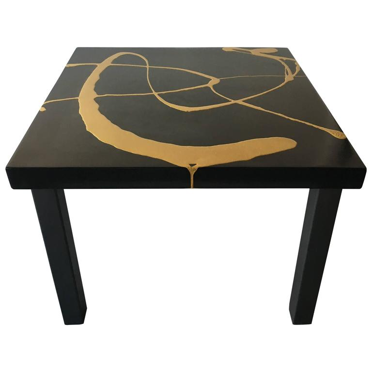 Martha Sturdy Square Black And Gold Resin Art Application