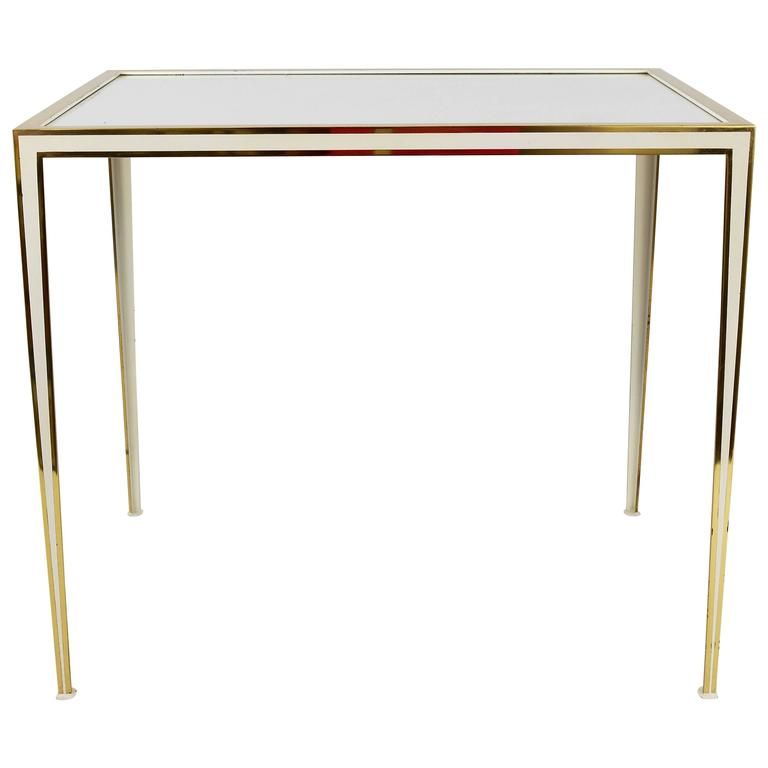 Brass and White Mirror Glass Side Table by Münchner Werkstätten, Germany, 1970