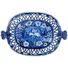 19th Century John Hall & Sons 'Fisherman's Family' Blue Transfer Reticulate Tray