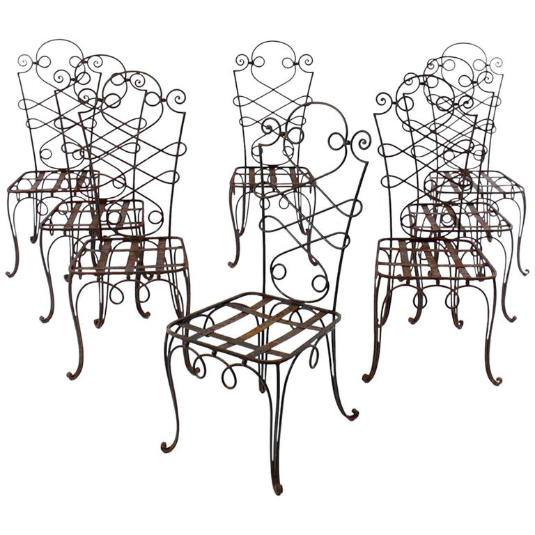René Prou Iron Chairs, France 1940 (Set of Eight) For Sale