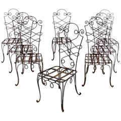 René Prou Iron Chairs, France 1940 (Set of Eight)