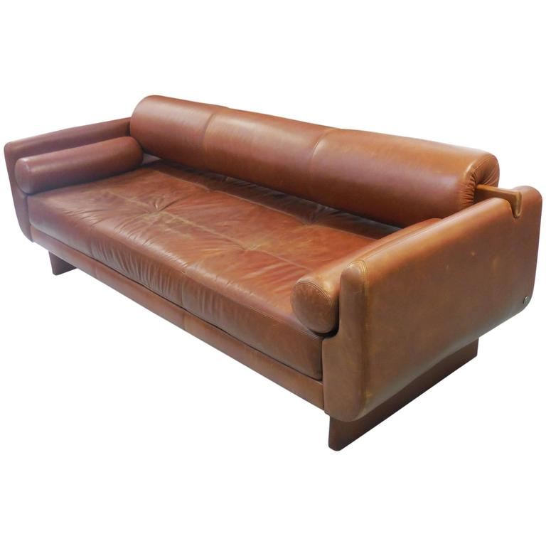 Modern Sculptural Leather Sofa Daybed For