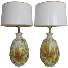 Yellow and White Terracotta Pottery Table Lamps with Flowers, ca. 1960s