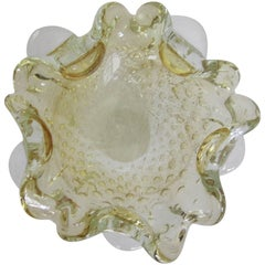 Midcentury Italian Murano Clear and Yellow Art Glass Bowl
