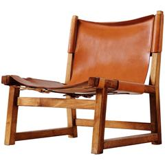 Scandinavian Hunting Chair in Cognac Leather