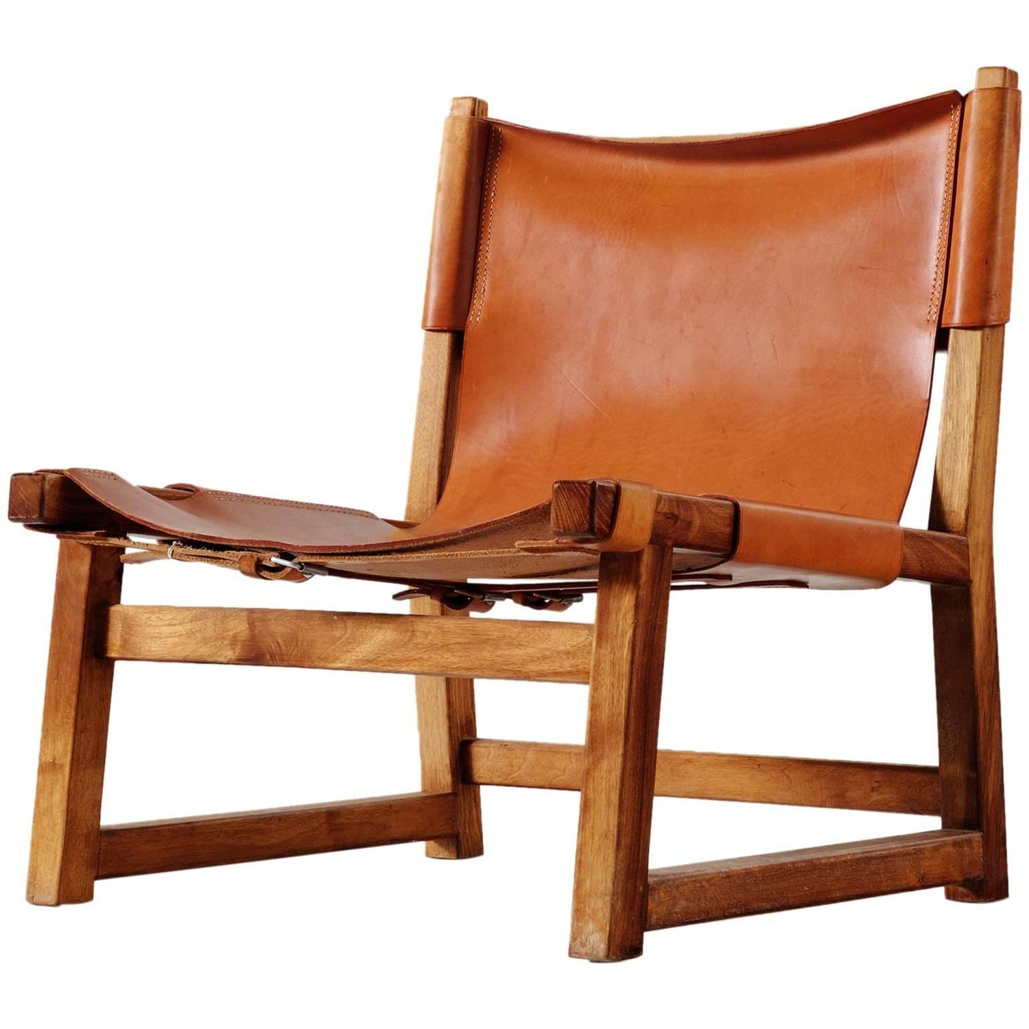Scandinavian Hunting Chair in Cognac Leather For Sale at 1stdibs