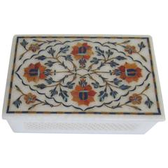 Vintage White Marble Box with Inlaid Top
