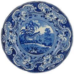 19th Century Enoch Wood Blue and White Zebra Sporting Series Transferware Plate